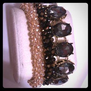 Stunning bracelet set of 3 gold &gunmetal gray